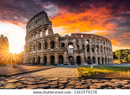 Rome, Italy. The Colosseum or Coliseum at sunrise. Royalty-Free Stock Photo #1361979278