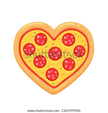 Heart shaped pepperoni pizza cartoon drawing isolated on white background. Funny pizza lovers illustration.