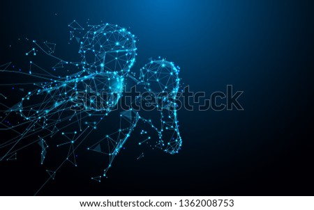 Man boxer doing shadow boxing from lines, triangles and particle style design. Illustration vector #1362008753