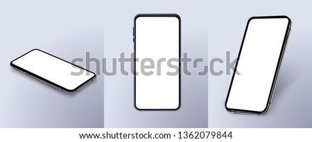 Set of modern frameless smartphones isolated on white background. Side and top and isometric view. Mockup generic device. Vector illustration #1362079844