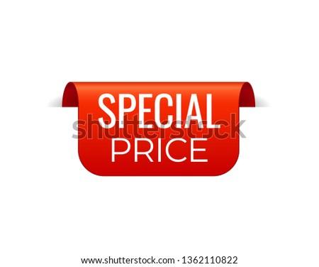 Red Vector Banner Ribbon on white background, top bookmark. Special price #1362110822