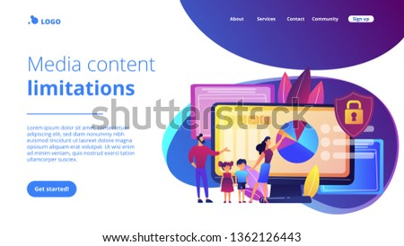 Parents with children using content control software. Parental control software, restricted access for children, media content limitations concept. Website vibrant violet landing web page template. #1362126443