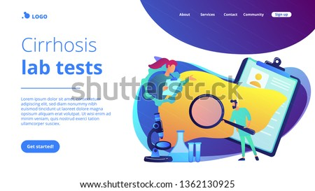 Doctors examining huge liver with magnifier and microscope. Cirrhosis, cirrhosis of the liver and liver disease concept on white background. Website vibrant violet landing web page template. #1362130925