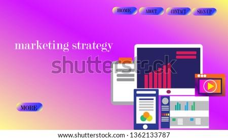 Market analysis, web data analytics software, data research flat vector #1362133787