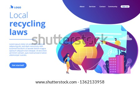 Specialists writing new mandatory recycling laws for country. Government mandated recycling, ecological regulations, local recycling laws concept. Website vibrant violet landing web page template. #1362133958
