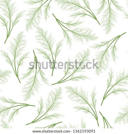 Dill  seamless pattern with bunches of dill  isolated on white background. Vector cartoon illustration  Royalty-Free Stock Photo #1362193091