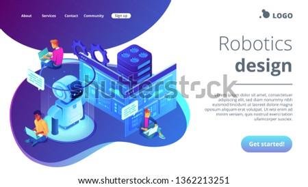 Robotics developers team with laptops work on robot automation process. Robotics design and programming, robotics algorithm and software concept. Isometric 3D website app landing web page template #1362213251