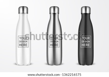 Vector Realistic 3d White, Silver and Black Empty Glossy Metal Reusable Water Bottle with Silver Bung Set Closeup Isolated on White Background. Design template of Packaging Mockup. Front View #1362216575
