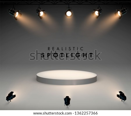 Spotlights with bright white light shining stage vector set. Illuminated effect form projector, illustration of projector for studio illumination Royalty-Free Stock Photo #1362257366