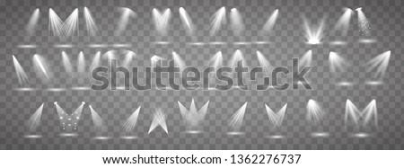 Scene illumination collection. Big set Bright lighting with spotlights. Spot lighting of the stage. #1362276737