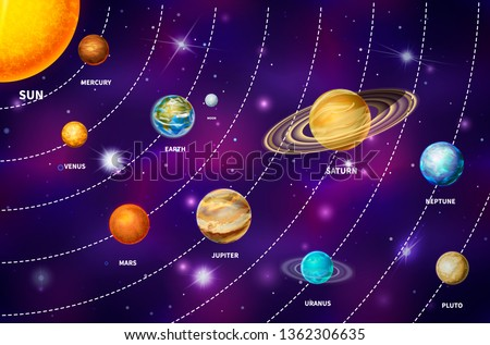 Bright realistic planets on solar system like Mercury, Venus, Earth, Mars, Jupiter, Saturn, Uranus, Neptune and Pluto, including sun and moon on colorful deep space background with bright stars