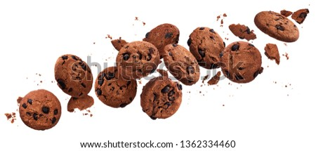Falling broken chocolate chip cookies isolated on white background with clipping path, flying biscuits collection #1362334460