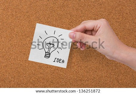 Cork board with drawing business concept notes #136251872