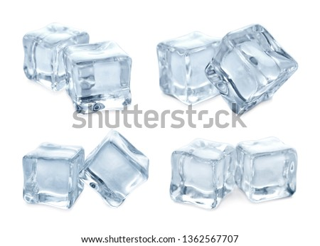 Set of crystal clear ice cubes on white background #1362567707