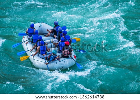 Raft in mid of River Ganges Rishikesh India.  White water  rafting water sports in Asia #1362614738