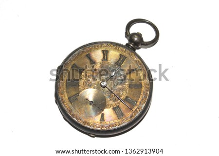 Vintage Pocket Watch on White Background #1362913904