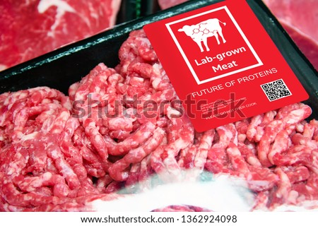 Artificial beef lab grown meat in retail supermarket emerging field of food production with label. Future trend of biotechnology ,  artificial food 4.0 concept. #1362924098