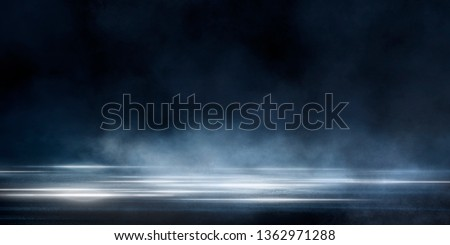 Wet asphalt, reflection of neon lights, a searchlight, smoke. Abstract light in a dark empty street with smoke, smog. Dark background scene of empty street, night view, night city. #1362971288