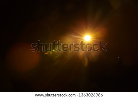 Abstract Natural Sun flare on the black #1363026986
