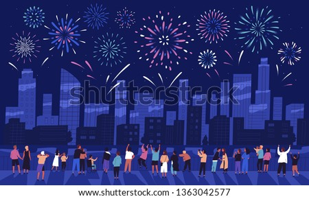 Crowd of people watching fireworks displaying in dark evening sky and celebrating holiday against city buildings. Festival celebration, pyrotechnics show. Flat cartoon colorful vector illustration. Royalty-Free Stock Photo #1363042577