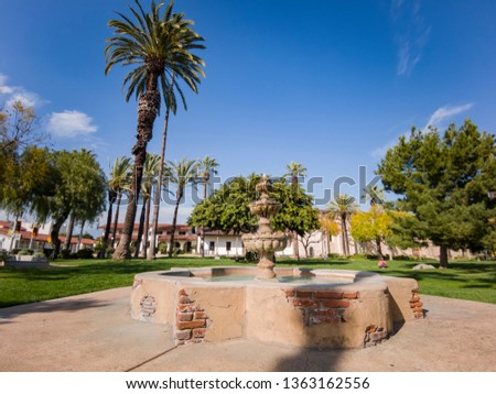 Los Angeles, MAR 26: Exterior view of the San Gabriel Mission church on MAR 26, 2019 at Los Angeles, California #1363162556