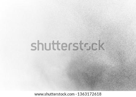 Black and white splashing powder, isolated on white background  #1363172618