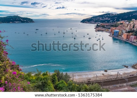 Villefranche-sur-Mer, beautiful bay in winter, with boats and Saint-Jean-Cap-Ferrat in background   #1363175384