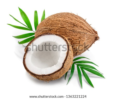 coconut with leaves isolated on white background #1363221224