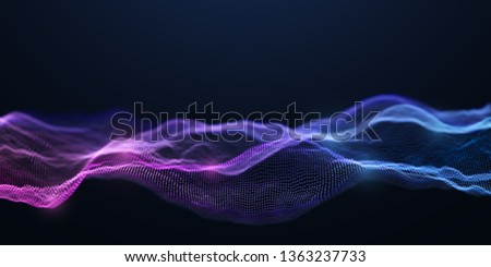 Blue and Purple Wavy Particle Surface on Black Background. Abstract Technology or Science Banner. Cyber Space Background. Particles with DOF Effect. EPS10 Vector Illustration. #1363237733