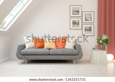 Stylish room in white color with sofa. Scandinavian interior design. 3D illustration #1363251731
