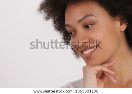 Young Woman face close up. Perfect smile, Naturally Beautiful Skin. Copy space #1363301198