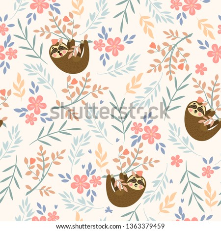 Vector seamless tropical pattern with cute sloths. Can be used for wallpaper, pattern fills, surface textures, fabric prints