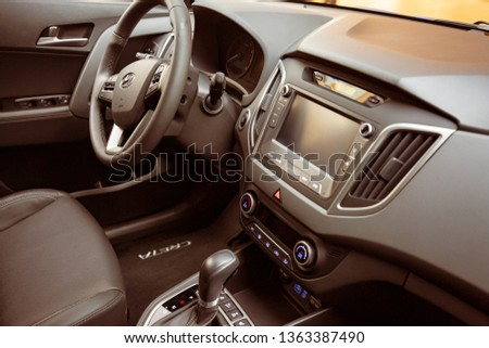 Russia, Moscow  - April 2019: Hyundai Creta Car Interior. Steering Wheel, Leather Seats, Onboard Computer Display With Indicators And Multimedia Control Buttons In Vehicle Interior Hyundai Creta. #1363387490