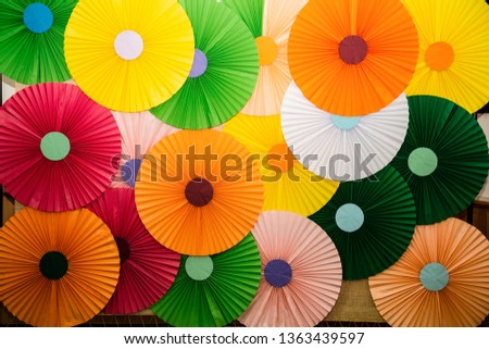Colorful paper decoration on the wall ,hand made by childrends , kids hobby in the school