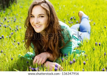 woman on the green grass #136347956