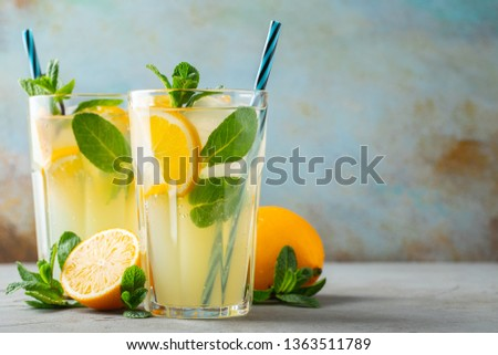 Two glass with lemonade or mojito cocktail. With copy space. #1363511789