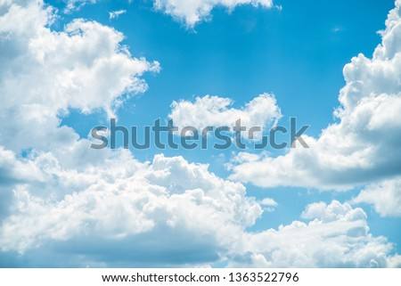 Clear blue sky and white clouds summer background #1363522796