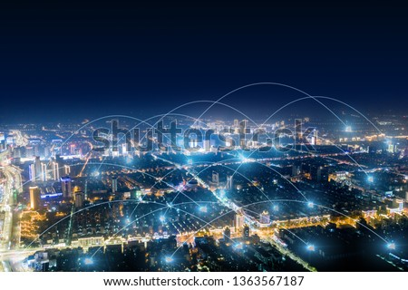 Modern city with wireless network connection concept  #1363567187