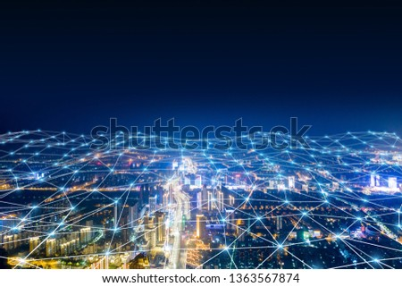 Modern city with wireless network connection concept  #1363567874