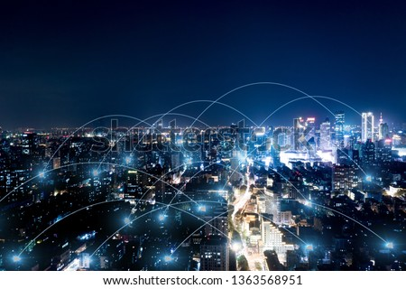 Modern city with wireless network connection concept  #1363568951