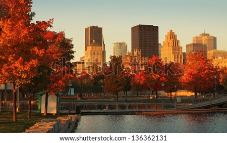 Buildings in the old port of Montreal early in the morning during fall season
