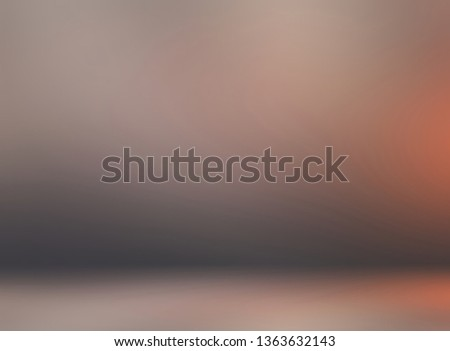 Brown room 3d background. Orange flare reflection. Rustic blurred texture. #1363632143