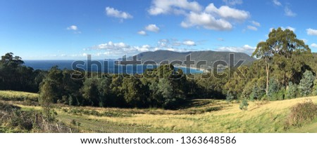 Panoramic landscape view of Pirates bay in Tasman National Park Tasman Peninsula Tasmania, Australia #1363648586