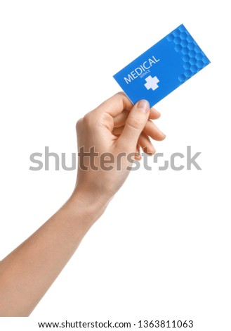 Woman holding business card isolated on white, closeup. Medical service #1363811063
