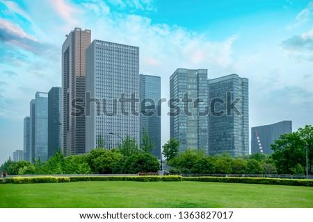 Modern Architectural City Skyline Royalty-Free Stock Photo #1363827017