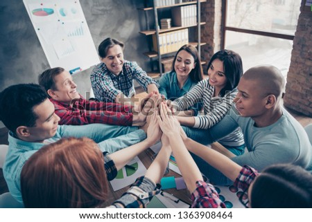 Gathering of professional college student happy smiling touching palms to show their union unity power success feeling positive wearing checked casual shirts sitting in office #1363908464