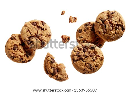 Broken chocolate chip cookies. Cookies broken in pieces with crumbs.  #1363955507