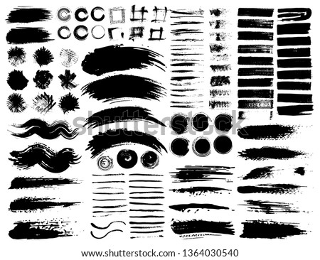 Set of brush strokes, Black ink grunge brush strokes. Vector illustration. #1364030540