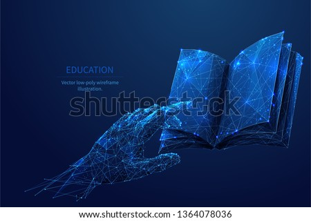 Human hand touching on a book. Low poly wireframe online education blue background or concept with opened book. Digital Vector illustration. Online reading or courses.