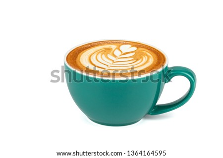 Side view of hot latte coffee with latte art in a dark green cup isolated on white background with clipping path inside. #1364164595